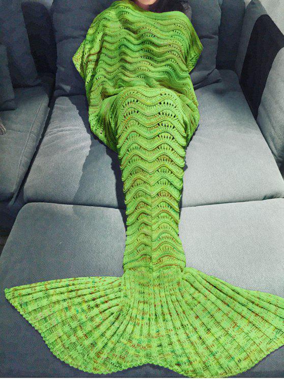 Mehrfarbige gestrickte Schönheitsfischschwanz-Decke - Apfelgrün