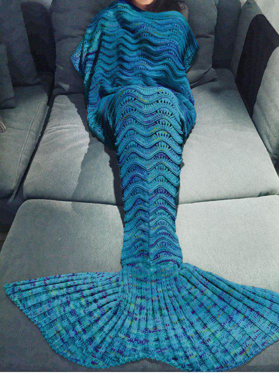 sale Handmade Knitted Mermaid Blanket - BLUE