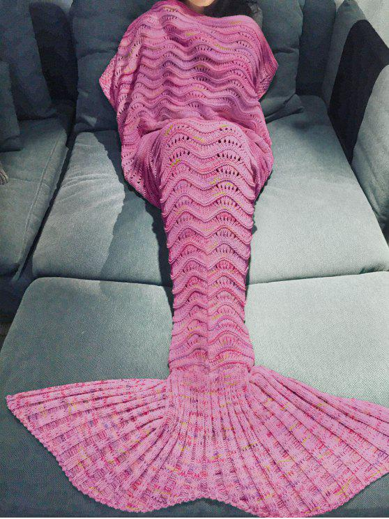 affordable Handmade Knitted Mermaid Blanket - PEACH RED