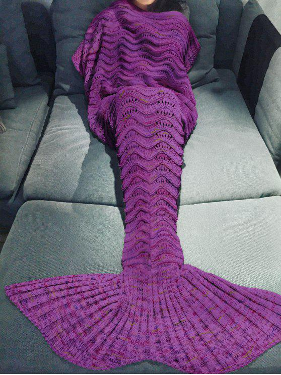 womens Handmade Knitted Mermaid Blanket - PURPLE