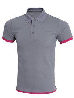 Einfache Spliced Bicolor Kurzarm Polo Shirt Für Männer - Grau S