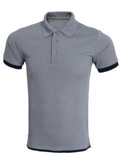 Simple Spliced Bicolor Short Sleeve Polo Shirt For Men - Black And Grey L