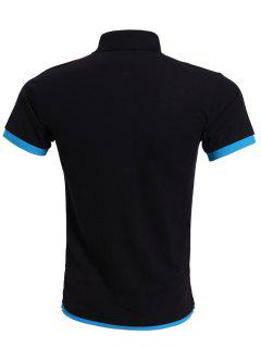 Simple Spliced Bicolor Short Sleeve Polo Shirt For Men - Blue And Black Xl