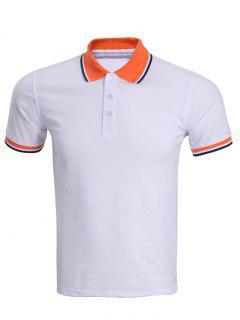 Classic Stripe Hem Design Short Sleeve Polo Shirt For Men - White 2xl