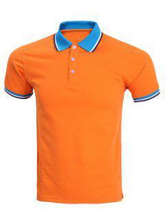 Classic Stripe Hem Design Short Sleeve Polo Shirt For Men - Orange M
