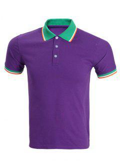 Classic Stripe Hem Design Short Sleeve Polo Shirt For Men - Purple Xl
