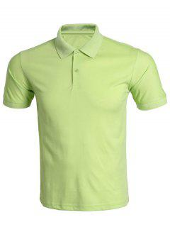 Turn-Down Collar Solid Color Polo T-Shirt For Men - Apple Green 3xl