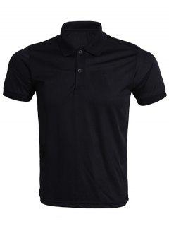 Turn-Down Collar Solid Color Polo T-Shirt For Men - Black S