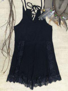 Lace Trim Slip Dress - Black M