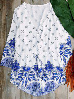 Long Sleeve Porcelain Print Playsuit - Blue And White S