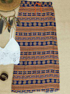 La Alta Cintura Una Línea Lateral Doble De La Falda Impresa - Naranja Rosa S