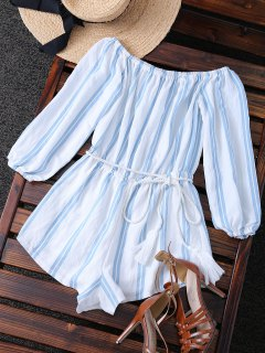 Belted Off The Shoulder Striped Romper - Blue And White S