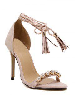 Tassel Beading Stiletto Heel Sandals - Apricot 37