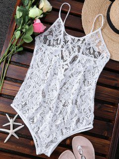 Unlined One-Piece Lace Swimsuit - White S