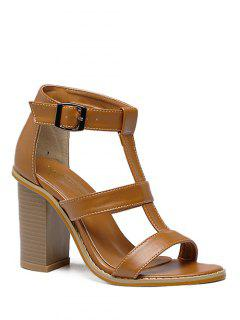 T-Strap Chunky Heel Sandals - Brown 38