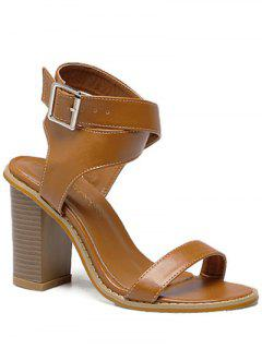 Cross Strap Chunky Heel Sandals - Brown 38