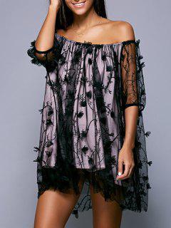 Floral Applique Off The Robe Asymétrique - Noir S