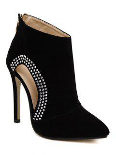 Black Cut Out Rhinestone Pumps - Black 38