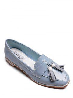 Tassel Patent Leather Flat Shoes - Azure 38