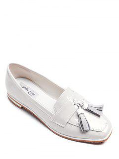 Tassel Patent Leather Flat Shoes - White 38