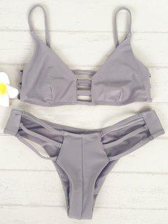 Solid Color Cami Elastic Bikini Set - Light Gray S
