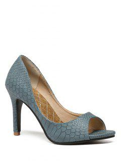 Snake Embossed Solid Color Peep Toe Shoes - Blue 38