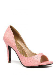 Snake Embossed Solid Color Peep Toe Shoes - Pink 38