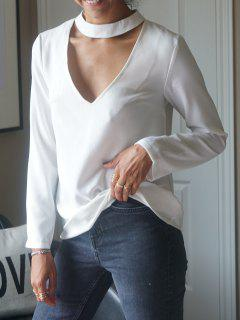 Cuello En V Profundo Gargantilla La Camiseta - Blanco 2xl