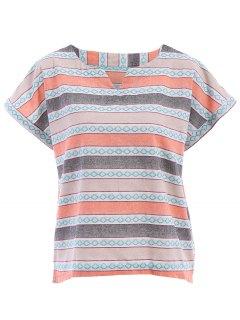 Rayas Hendidura Lateral Cuello Redondo Manga Corta De La Camiseta - Naranja Rosa