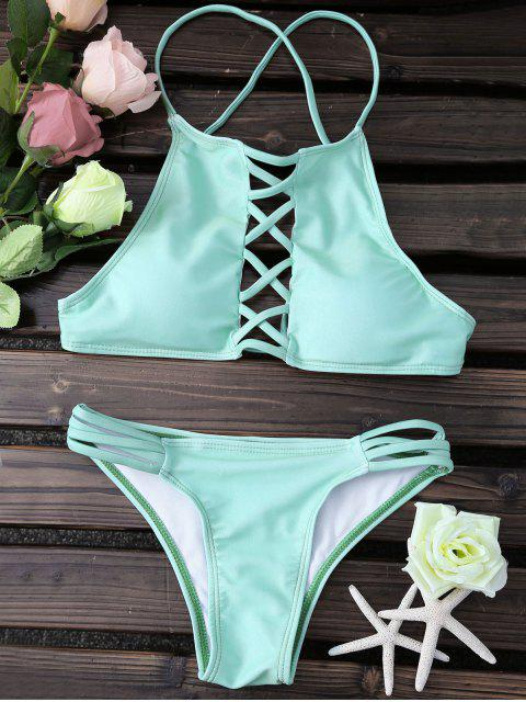 best Lace Up Spaghetti Straps Solid Color - GREEN L Mobile