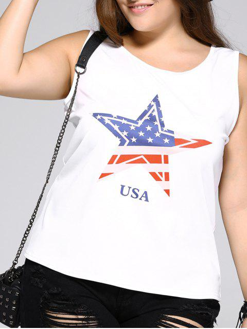 hot Oversized Brief Star and Letter Print Tank Top - WHITE L Mobile
