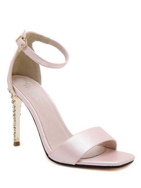 fancy Pink Color Ankle Strap Sandals - PINK 38 Mobile