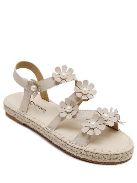 Flores de paja sandalias de tacón plano - Blancuzco 38 Mobile