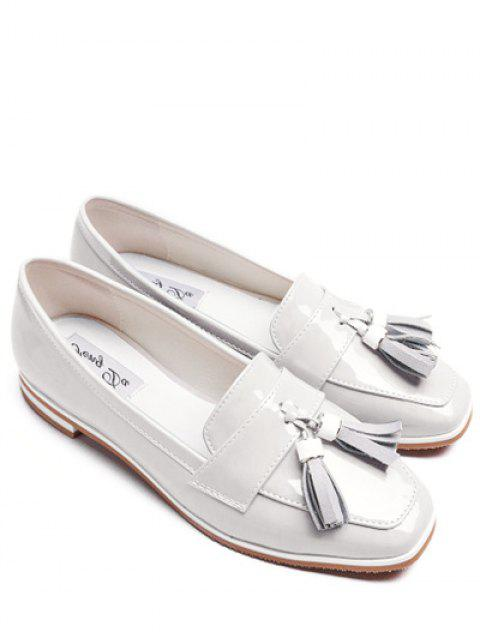 lady Tassel Patent Leather Flat Shoes - WHITE 38 Mobile