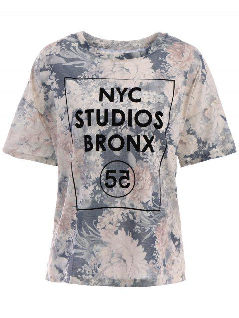 trendy Letter Pattern Short Sleeve T-Shirt - GRAY ONE SIZE(FIT SIZE XS TO M) Mobile