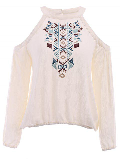 trendy Long Sleeve Cut Out Embroidered Blouse - WHITE M Mobile