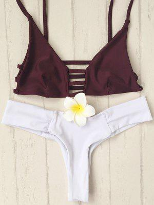 Los Tirantes De Espagueti Ahueca Hacia Fuera El Color Del Golpe Del Bikini Set - Blanco M