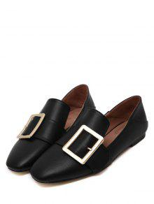 cc3caea3cb0f 38% OFF  2019 Square Toe Buckle Flat Shoes In BLACK