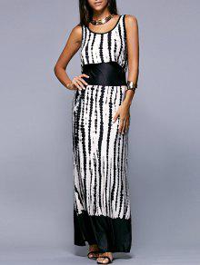Buy Striped Scoop Neck Sleeveless Maxi Dress - WHITE AND BLACK L