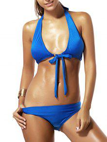 Tie Knot Halter Bikini - Bleu M