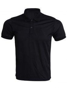 Da Vuelta-abajo Color De La Camiseta Del Polo Sólido Para Los Hombres - Negro S