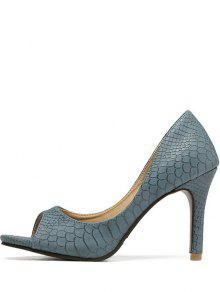 c51306376 26% OFF] 2019 Snake Embossed Solid Color Peep Toe Shoes In BLUE | ZAFUL