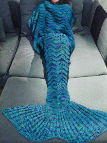 بطانية تصميم ميرميد محبوك لف متعدد الألوان - أزرق
