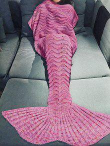 Handmade Knitted Mermaid Blanket - Peach Red