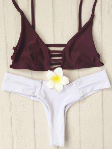 Spaghetti Straps Hollow Out Hit Color Bikini Set - White M