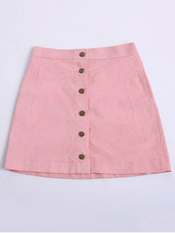 outfits Button Up Mini Corduroy Skirt - PINK M