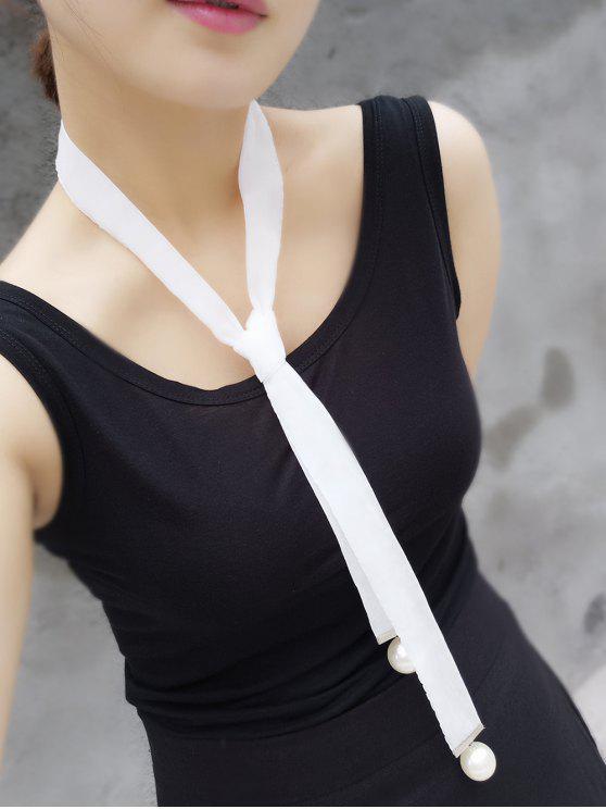 fancy Fake Pearl Necktie Necklace - WHITE
