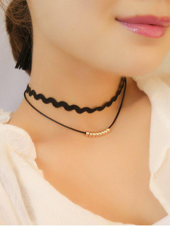 womens Wave Layered Choker Necklace - GOLDEN