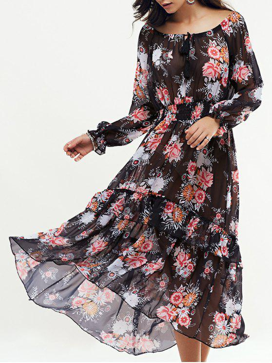 Maxi Vestido de Oscilación con Manga Larga - Negro M