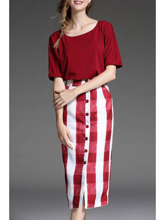 دولمان كم المحملة و غمد منقوشة تنورة البدلة - أحمر XL